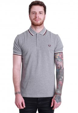 621d5f71 ... Fred Perry - Slim Fit Twin Tipped Steel Marl/Snow White/Port - Polo