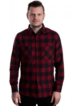 Urban Classics - Checked Flanell Black/Burgundy - Overhemd