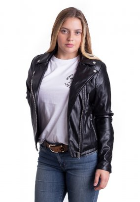 Urban Classics - Faux Leather Biker Black - Kurtka