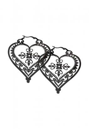 Wildcat - Steel Blackline Heart Of Royal Blood Hoops Black - Ohrringe