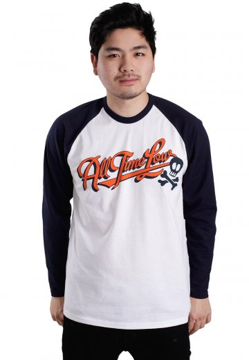 All Time Low - Batter Up White/Navy - Longsleeve