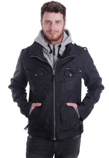 Brandit - Black Rock Grey - Leather Jacket