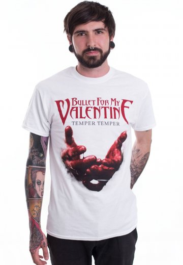Bullet For My Valentine Temper Temper Blood Hands White T Shirt
