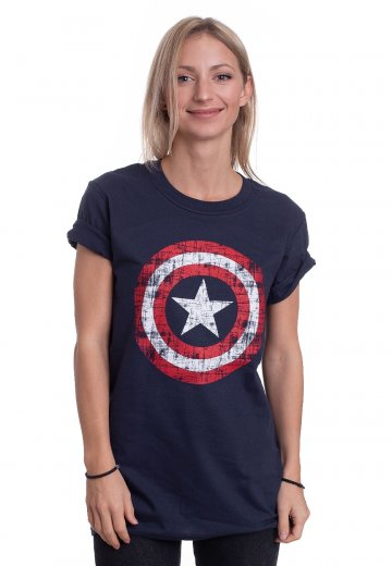 Captain America - Cracked Shield Navy - T-Shirt