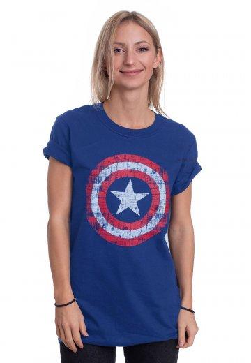 6a765de2 Captain America - Cracked Shield Navy - T-Shirt - Impericon.com US