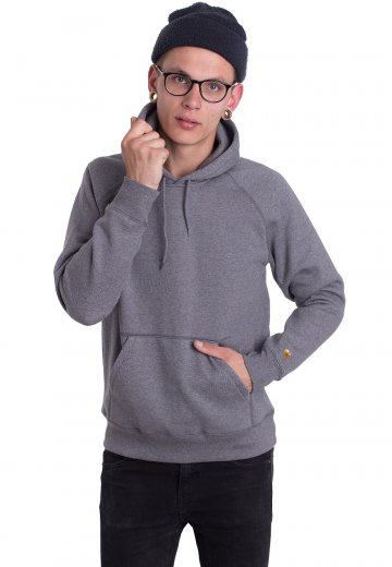 b1afe685042 Carhartt WIP - Hooded Chase Dark Grey Heather/Gold - Hoodie - Streetwear  Shop - Impericon.com UK