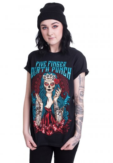 Five Finger Death Punch Lady Muerta T Shirt Offizieller Nu