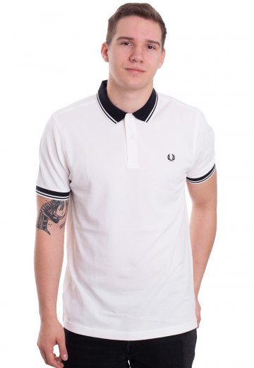 Fred Perry - Contrast Rib Pique Snow White - Polo