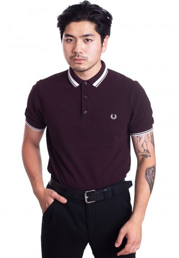 Fred Perry - Contrast Tipped Deep Mahogany - Polo