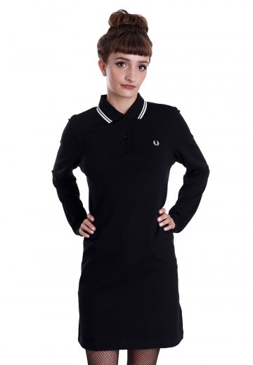 04f30185 Fred Perry - Long Sleeve Pique Black/White/White - Dress ...
