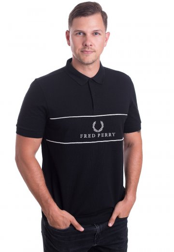 Fred Perry - Panel Piped Pique Black - Polo