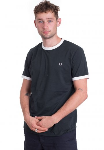 Fred Perry - Ringer Dark Emerald - T-Shirt