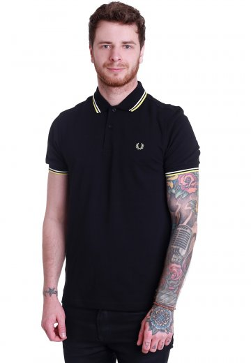 Fred Perry - Slim Fit Twin Tipped Black/Snow White/Soft Yellow - Polo