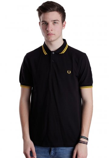 Fit Twin Tipped Slim Blacknew Polo Fred Perry Yellow Qrdtsh