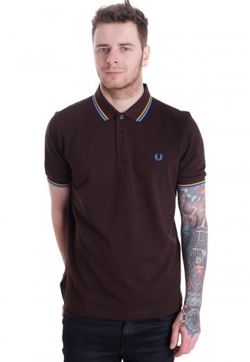 c1efa1c9 Fred Perry - Slim Fit Twin Tipped Dark Chocolate Marl/Mustard/Clear Blue ...