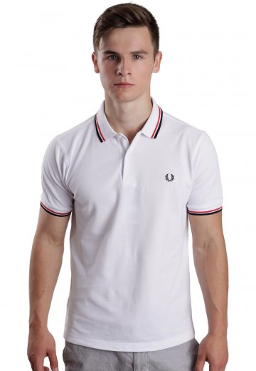 Fred Perry - Slim Fit Twin Tipped White/Bright Red/Navy - Polo