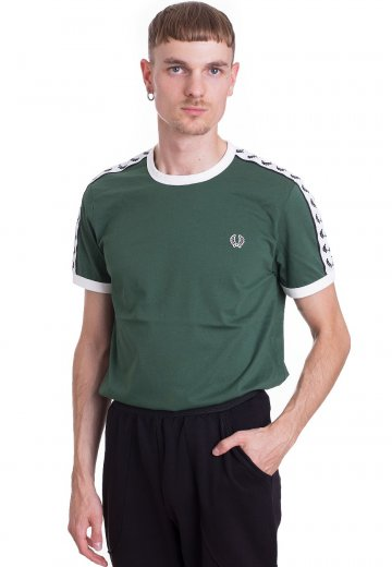 Fred Perry - Taped Ringer Tartan Green - T-Shirt