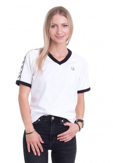 Fred Perry - Taped V-Neck Ringer White - T-Shirt
