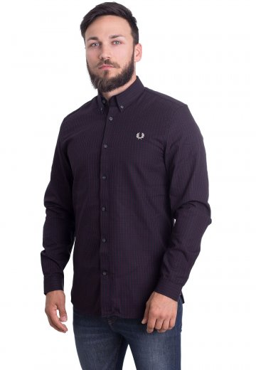 Fred Perry - Three-Colour Basketweave Mahogany - Shirt