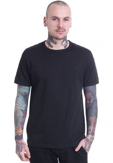 Fred Perry - Tonal Taped Ringer Black - T-Shirt