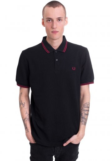 Fred Perry - Twin Tipped Black/Claret - Polo
