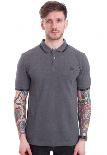 Fred Perry - Twin Tipped Mid Grey Marl/Black/Black - Polo