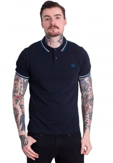 Fred Perry - Twin Tipped Fred Perry Navy/Snow White/Pacific - Polo