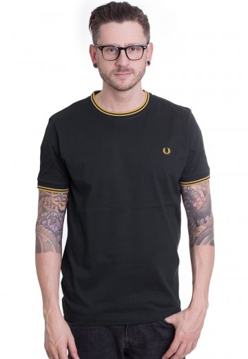 Fred Perry - Twin Tipped Ringer Britsh Racing Green - T-Shirt
