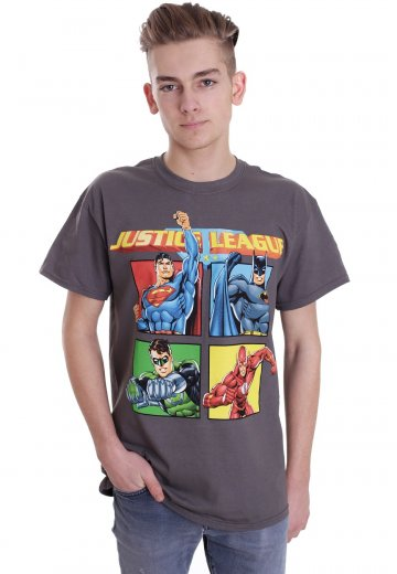Justice League - Squares Charcoal - T-Shirt