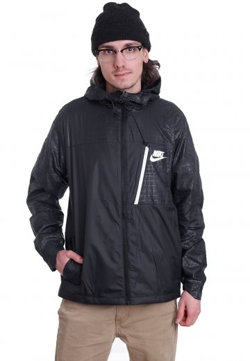 Nike - NSW AV15 JKT HD WVN WNGR Black Black White - Jacket ... a30992fe5