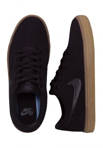 Nike - SB Check Solarsoft Canvas Skateboarding Black/Black/Gum/Light Brown - Shoes
