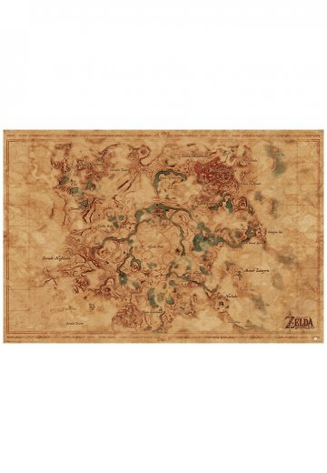 The Legend Of Zelda Breath Of The Wild Hyrule World Map Poster