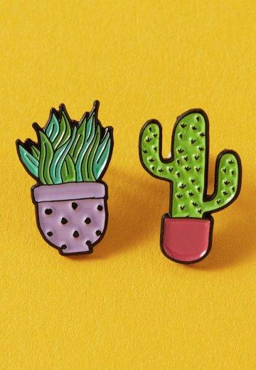 Punky Pins - Lilac &Pink Cactus Duo Enamel - Pin