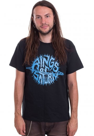 Rings Of Saturn - Black With Blue Ink - T-Shirt