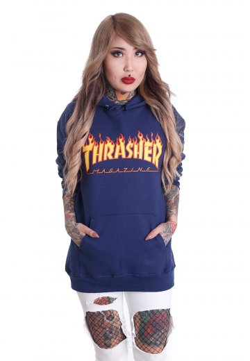 c02b50f1d6c4 Thrasher - Thrasher Flame Navy - Hoodie - Streetwear Shop - Impericon.com UK