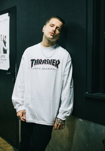 1dac8215 Thrasher x Independent - Thrasher Time To Grind White - Longsleeve ...