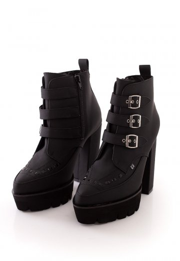 2 Buckle Pointed Platform Boot Dull PU