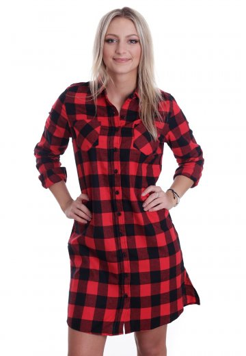 11baaa180f08 Urban Classics - Checked Flanell Shirt Black/Red - Dress - Streetwear Shop  - Impericon.com UK