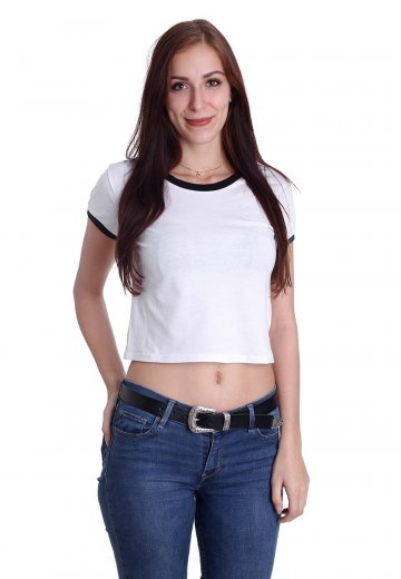 30790aa1b5be57 Urban Classics - Cropped Ringer White Black - Girly - Streetwear Shop -  Impericon.com US