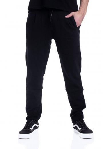 Urban Classics Formula Cropped Peached Interlock Black Sweat Pants