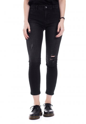 Urban Classics - High Waist Skinny Denim Black Washed - Jeans