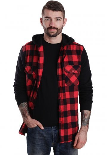 Urban Classics - Hooded Checked Flanell Black/Red/Black - Shirt
