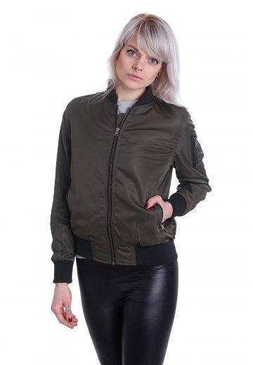 9721429eb02 Urban Classics - Nylon Twill Bomber Darkolive/Black - Jacket ...