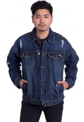 Urban Classics - Ripped Denim Blue Washed - Jeans Jacket
