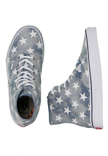 55a65257cf9 Vans - Authentic Hi Washed Denim Blue Stars - Girl Shoes - Impericon.com US