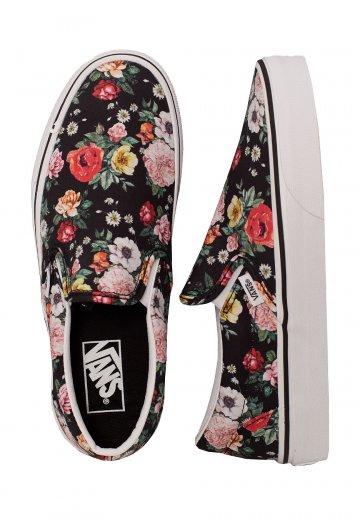 Vans Classic Slip On Garden Floral BlackTrue White Girl Shoes
