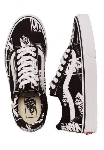 38a5e74108 Vans - Old Skool Logo Mix Black TRue White - Girl Shoes - Impericon.com UK