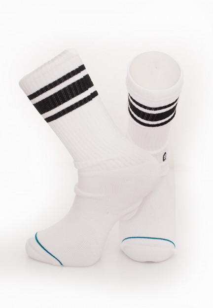 Mens Stance Boyd 4 Pipebomb Crew Socks in White