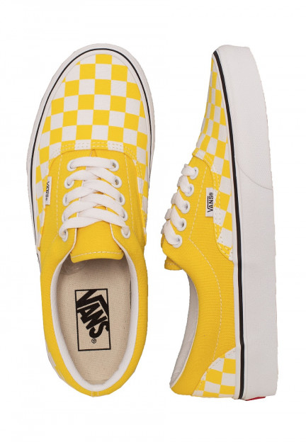 Vans - Era Checkerboard Vibrant Yellow/True White - Zapatos ...