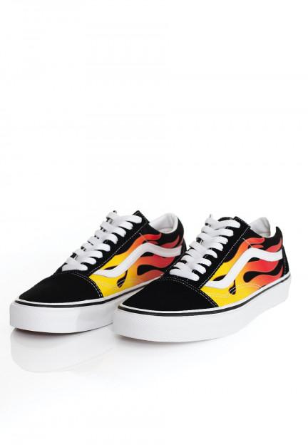 Vans - Old Skool (Flame) Black/Black/True White - Shoes ...